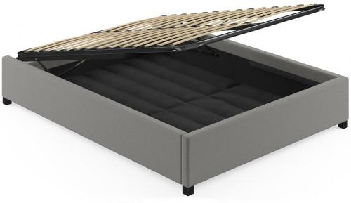 Queen Size Upholstered Gaslift Bed Base Stone Grey