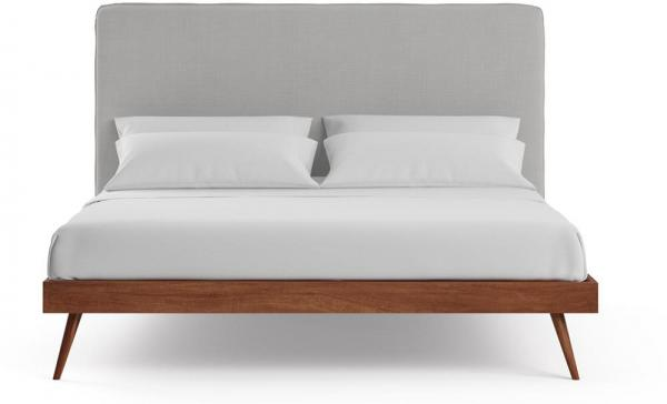 Sara and Frank King Size Bed Frame Early American Solid Walnut Acacia Wood Cloud Grey