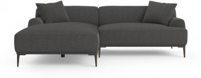 Seta 4 Seater Sofa with Chaise Nickel Grey Left Chaise