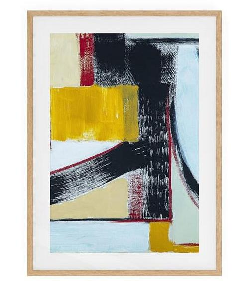 The Farbe Print Natural Wood Frame Small Yellow