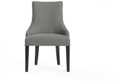 Zoe Scoop Back Dining Chair Black Solid Beech Stone Grey