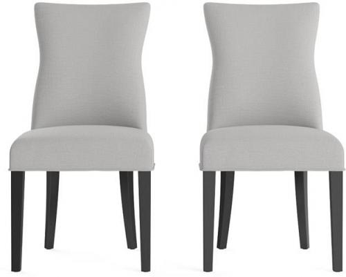 Zoe Set of 2 Dining Chairs Black Solid Beech Cloud Grey