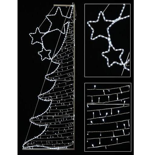 White Dual-Sided Christmas Tree Rope Light Silhouette With String Lights - 2m