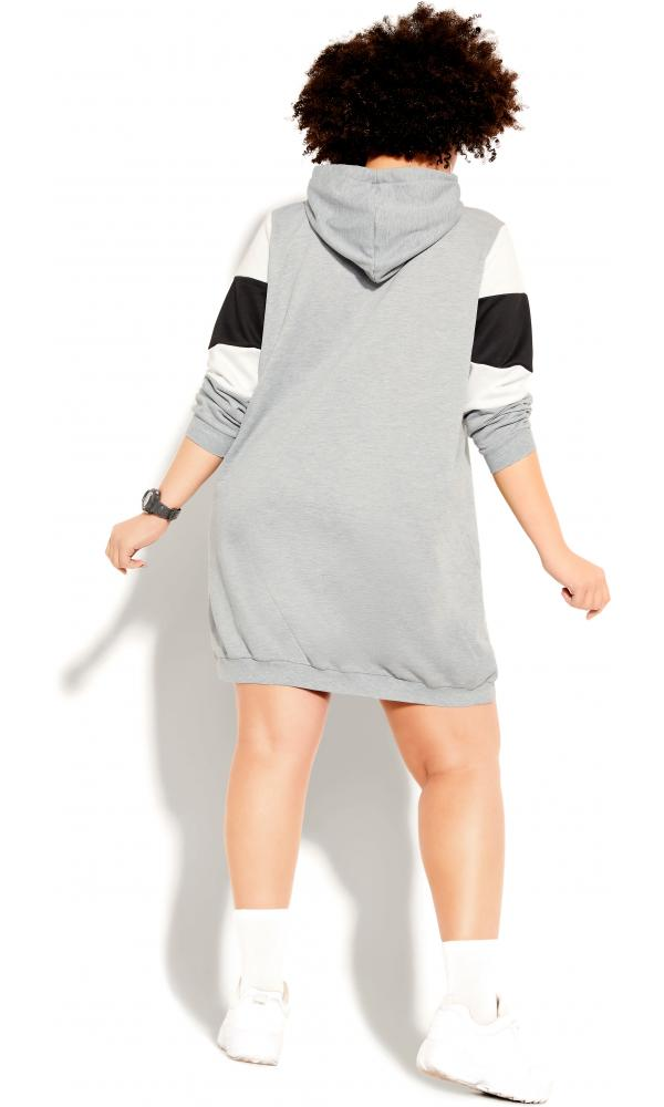 Plus Size Hoodie Retro Active Top in Grey Marle, Size 12/2XS City Chic