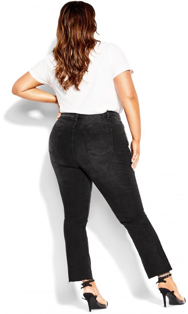 Plus Size Jean Simple Fray 24/XXL in Black Wash, Size 12/2XS, Cotton City Chic