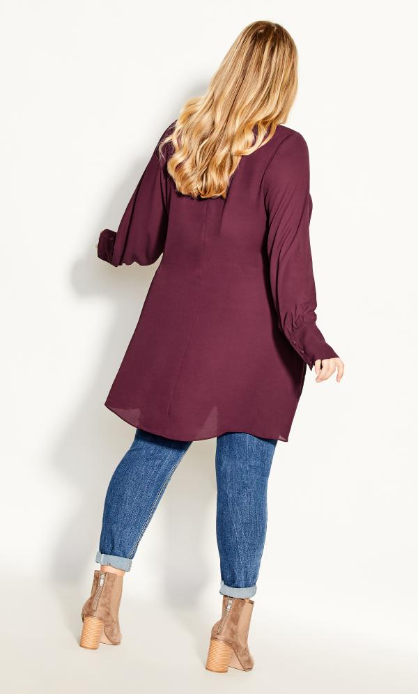 Plus Size Tunic Neck Tie Top in Spiced Plum, Size 12/2XS City Chic