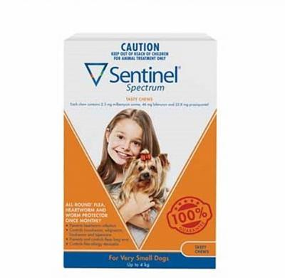 Sentinel Spectrum Tasty Chews for Very Small Dogs Up to 4kg Pack of 6