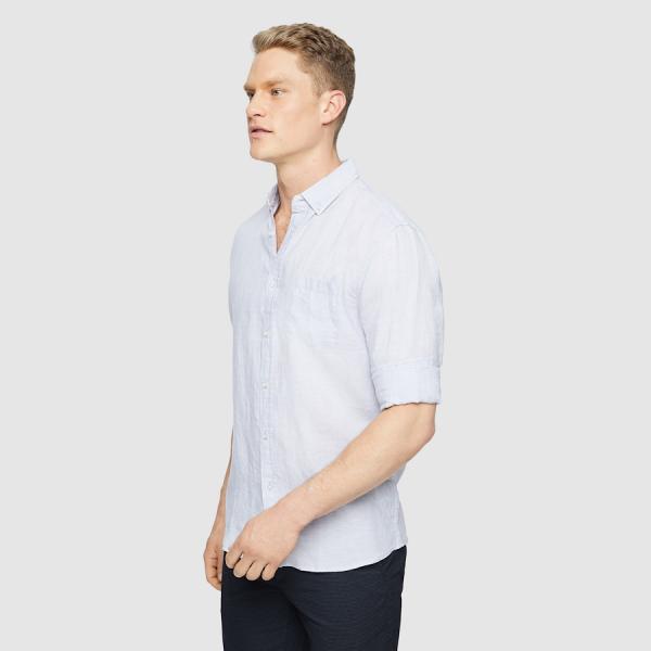 Tarocash Billy Pure Linen Shirt Silver Xl