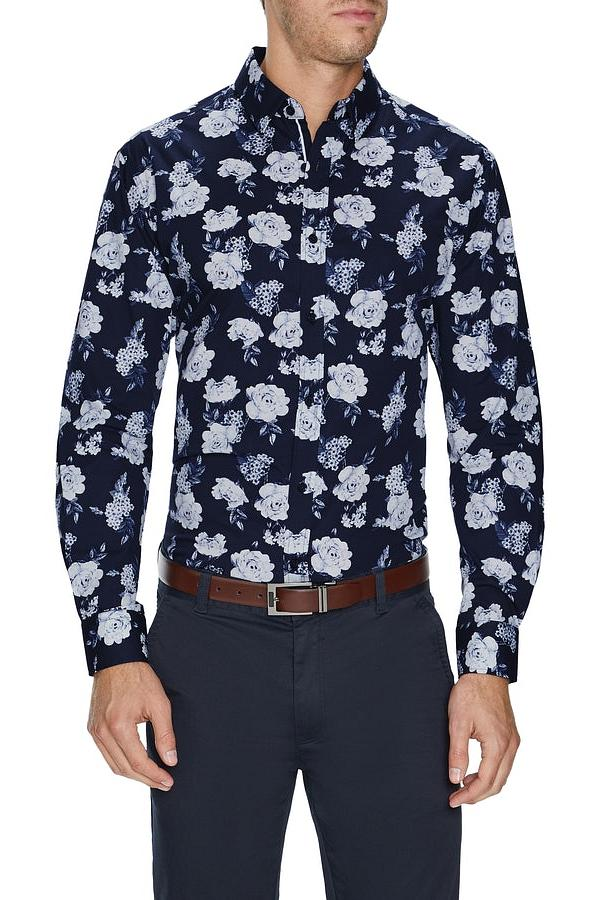 Tarocash Ridge Floral Stretch Shirt Navy S