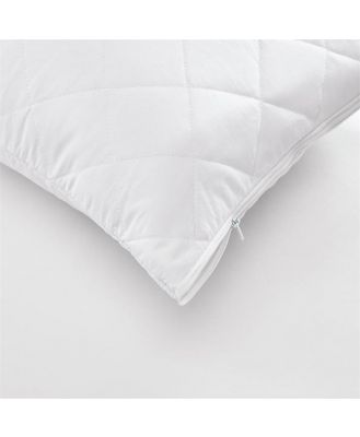 Clear Sleep Cotton Quilted Protector Queen Pillow Protector White - Whitestandard By Adairs