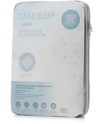 Clear Sleep Quilted European Pillow Protector  - White By Adairs