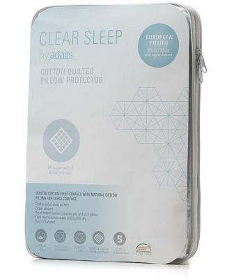 Clear Sleep Quilted Standard Pillow Protector  - Whitestandard By Adairs