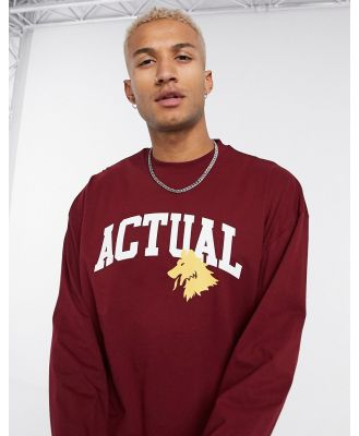 ASOS Actual oversized long sleeve T-shirt with text print in dark red-Pink