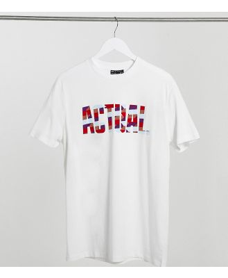 ASOS Actual Tall t-shirt with logo in coloured flock print-White