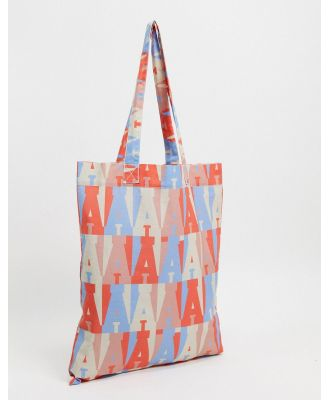 ASOS Actual tote bag with pastel all-over branding in organic cotton-Multi