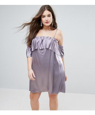 ASOS CURVE Structured Swing Dress with Ruffle Off Shoulder - Silver