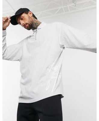 ASOS Dark Future long sleeve oversized polo with zip neck and dark future logo-Grey
