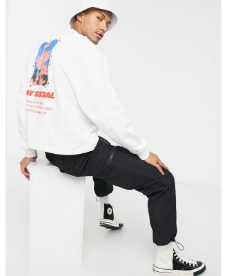 ASOS Day social oversized sweatshirt with multi placement print-White