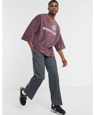 ASOS Day Social oversized T-shirt with Day Social logo embroidery in towelling-Purple
