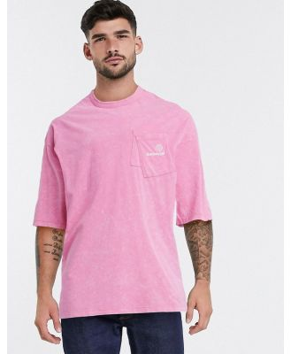 ASOS Daysocial oversized longline T-shirt with layered pockets and logo embroidery-Pink
