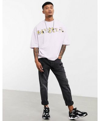 ASOS Daysocial oversized T-shirt with logo text front gloss print in light pink-Purple