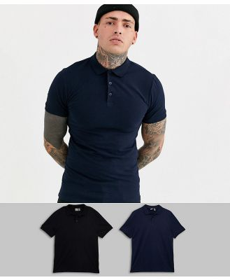 ASOS DESIGN 2 pack muscle fit jersey polo save-Multi