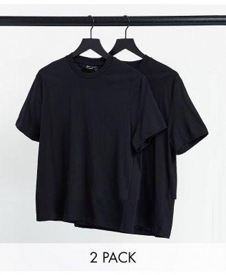 ASOS DESIGN 2 pack organic t-shirt with crew neck-Black