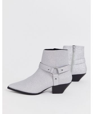 ASOS DESIGN Aidan harness western ankle boots in glitter-Silver