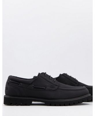 ASOS DESIGN boat shoe in black faux suede on chunky sole