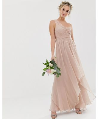 ASOS DESIGN Bridesmaid soft layer maxi dress with one shoulder pleated bodice-Pink