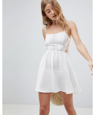 ASOS DESIGN Broderie Tie Side Beach Dress-White