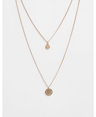 ASOS DESIGN chakra multirow necklace-Gold