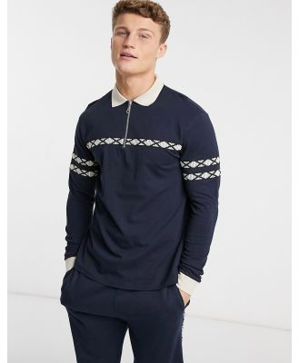 ASOS DESIGN co-ord long sleeve polo shirt with zip neck and taping in navy