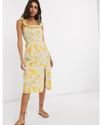 ASOS DESIGN cotton midi sundress with shirred waist and lace up back in floral print-Multi
