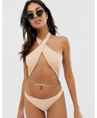 ASOS DESIGN cross neck strappy high leg swimsuit in light mink-Pink