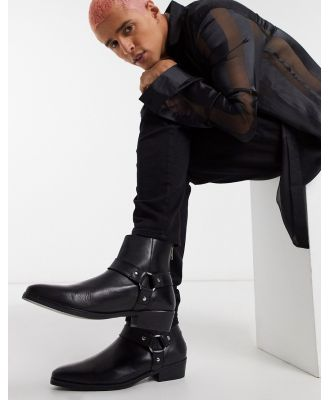 ASOS DESIGN cuban heel western chelsea boots in black leather with buckle detail