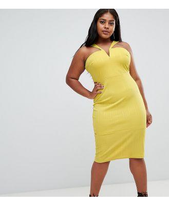 ASOS DESIGN Curve bandage cut out bodycon midi dress-Yellow