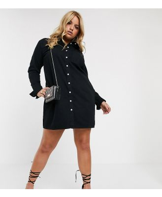 ASOS DESIGN Curve denim shirt dress in black