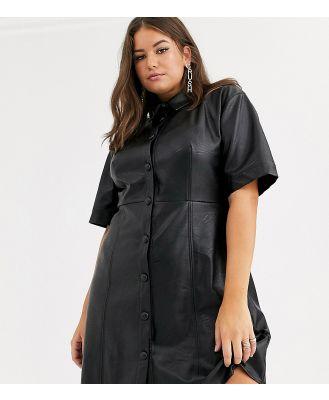 ASOS DESIGN Curve leather look mini button-through shirt dress in black