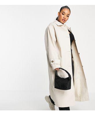 ASOS DESIGN Curve longline trench coat in stone-White