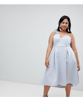 ASOS DESIGN Curve premium corsage strap prom dress - Blue