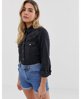 ASOS DESIGN denim fitted western shirt in washed black