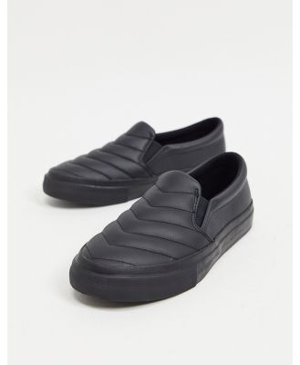 ASOS DESIGN Duchy leather padded sneakers in black