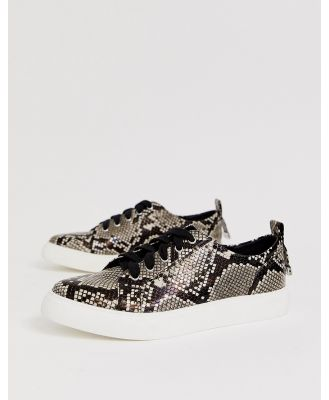 ASOS DESIGN Durban pointed lace up sneakers in snake print-Multi