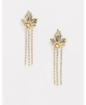 ASOS DESIGN earrings with leaf stud and crystal drop in gold tone