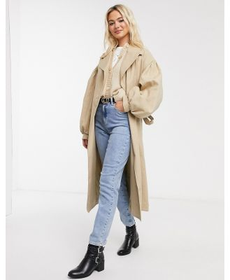ASOS DESIGN extreme sleeve trench coat in stone-Neutral