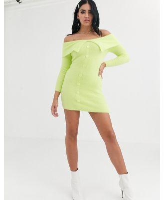 ASOS DESIGN fluffy bardot knit mini dress-Green
