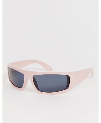 ASOS DESIGN full frame visor sunglasses-White