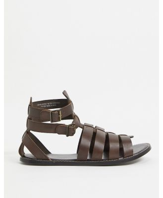 ASOS DESIGN gladiator sandals in brown leather
