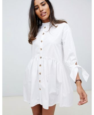 ASOS DESIGN grandad collar button through mini smock dress with tie sleeve in white